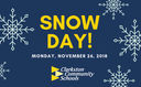 All Schools Closed Monday, November 26